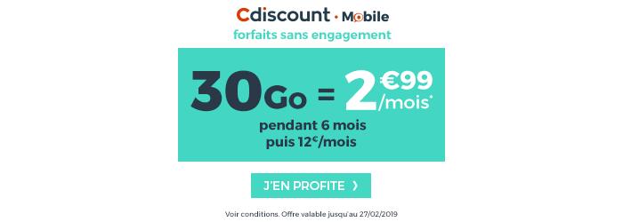 Découvrir le forfait Cdiscount Mobile de 30GO à 2.99€/mois pendant 6 mois